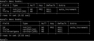 AddBook_TitleYomigana を反映したデータベースのテーブル情報